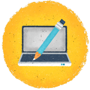 Pencil hovering over a laptop